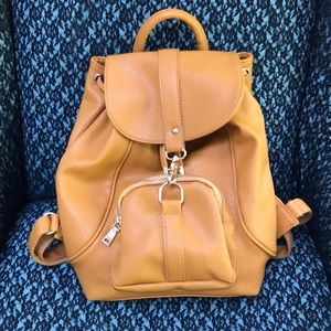 Handbags - Tan/Mustard Faux Leather Backpack